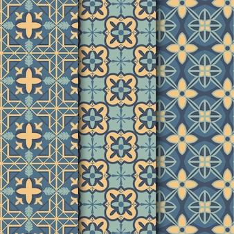 Coleção de padrão árabe ornamental de design plano