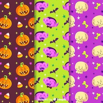 Coleção de padrão colorido de halloween