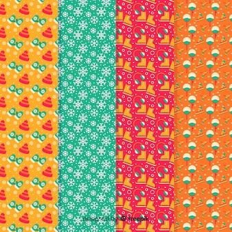 Coleção de padrão colorido de inverno Vetor grátis