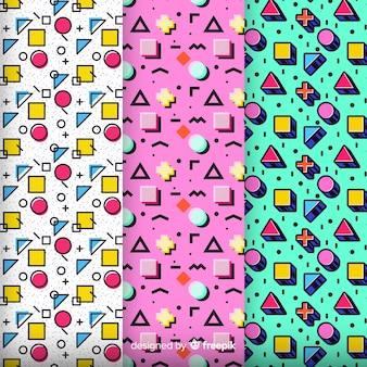 Coleção de padrão colorido de memphis