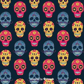 Coleção de padrão colorido día de muertos com design plano