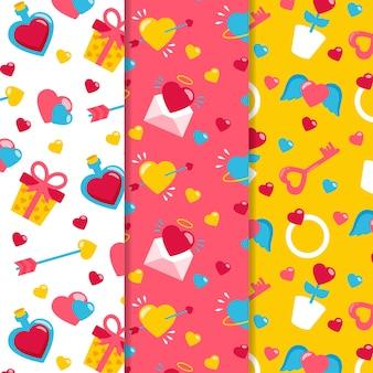 Coleção de padrão colorido dia dos namorados em design plano