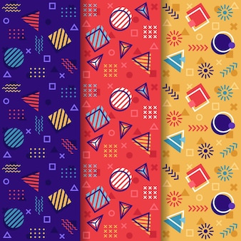 Coleção de padrão colorido sem costura memphis