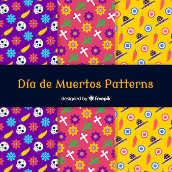 Coleção de padrão criativo día de muertos