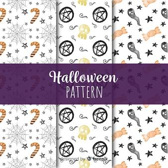 Coleção de padrão de aquarela colorida halloween
