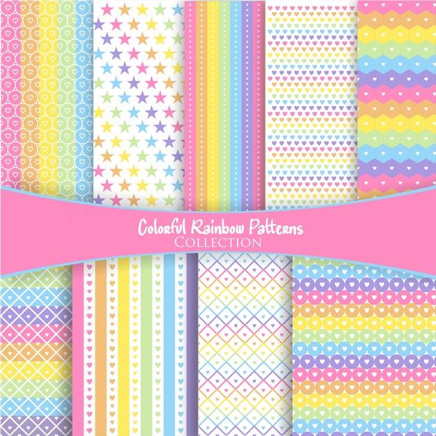 Coleção de padrão de arco-íris colorido