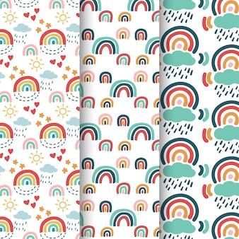Coleção de padrão de arco-íris desenhada à mão