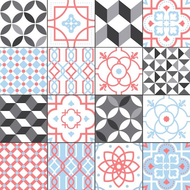 Coleção de padrão de azulejos diferentes. conjunto de rendilhado colorido e monocromático. ilustração de ornamento tradicional e moderna.