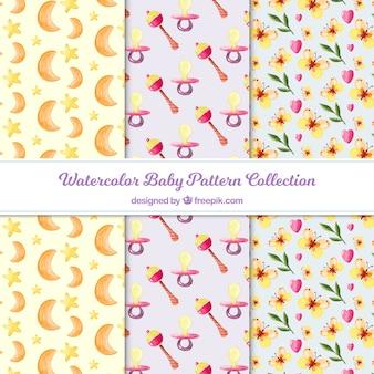 Coleção de padrão de bebê com luas e flores
