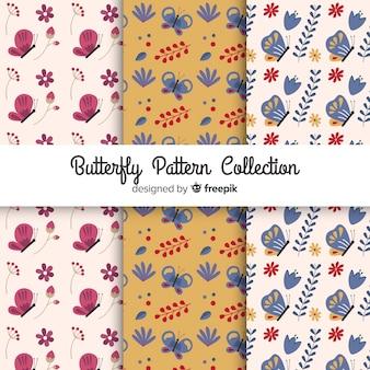 Coleção de padrão de borboleta plana