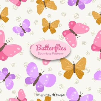 Coleção de padrão de borboletas planas