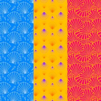 Coleção de padrão de concha sem emenda