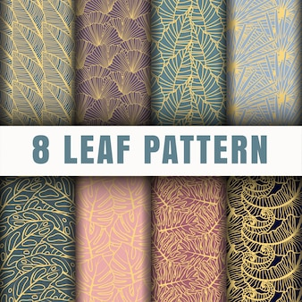 Coleção de padrão de contorno de folha