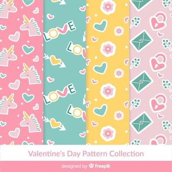 Coleção de padrão de cor pastel dos namorados
