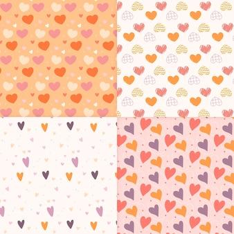 Coleção de padrão de coração desenhado de mão