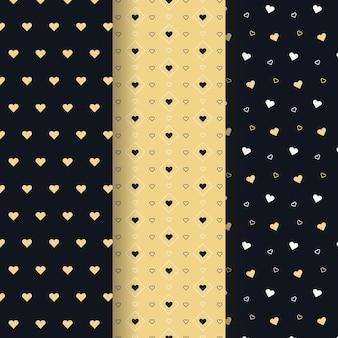 Coleção de padrão de coração design plano