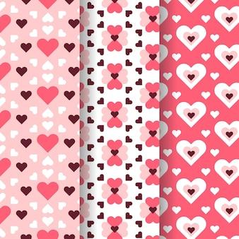 Coleção de padrão de coração em design plano