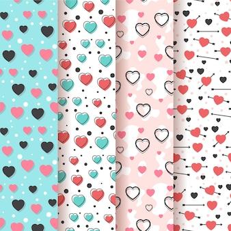 Coleção de padrão de coração liso