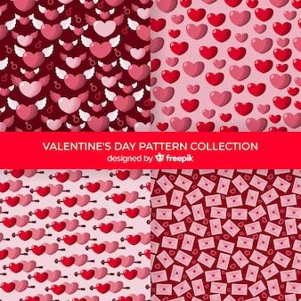 Coleção de padrão de corações dos namorados