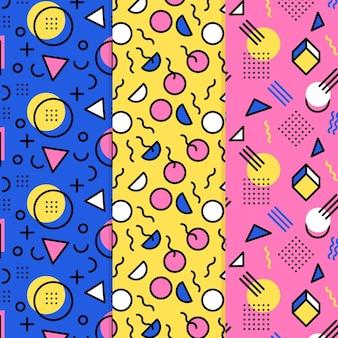 Coleção de padrão de design de memphis