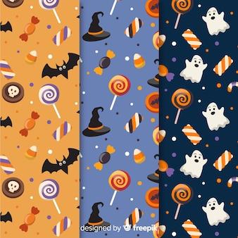 Coleção de padrão de design plano de halloween