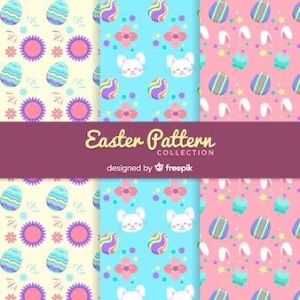 Coleção de padrão de dia colorido de páscoa