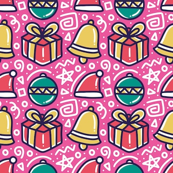 Coleção de padrão de dia de natal com ícones e elementos de design