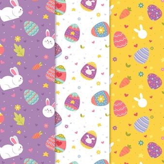 Coleção de padrão de dia de páscoa colorido mão desenhada