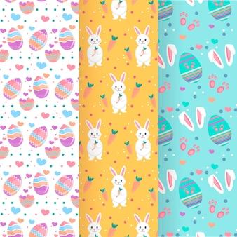 Coleção de padrão de dia de páscoa com ovos e coelhos