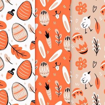 Coleção de padrão de dia de páscoa desenhados à mão
