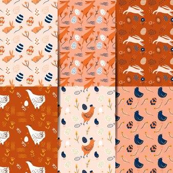 Coleção de padrão de dia de páscoa em design plano