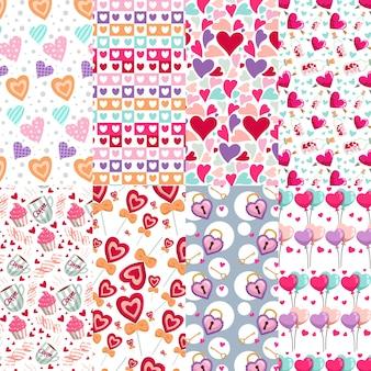 Coleção de padrão de dia dos namorados com corações