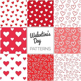 Coleção de padrão de dia dos namorados de corações
