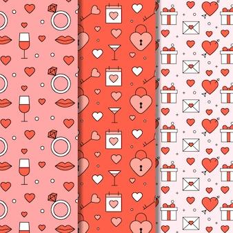 Coleção de padrão de dia dos namorados de design plano