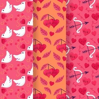 Coleção de padrão de dia dos namorados desenhados à mão