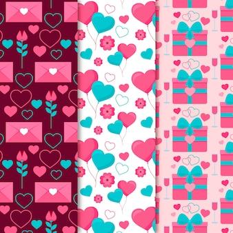 Coleção de padrão de dia dos namorados design plano