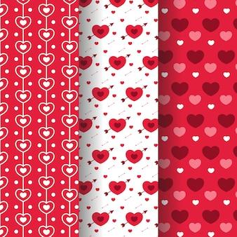Coleção de padrão de dia dos namorados em design plano