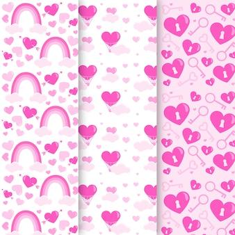 Coleção de padrão de dia dos namorados plana