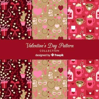 Coleção de padrão de dia dos namorados
