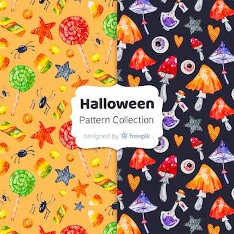Coleção de padrão de elementos de halloween em aquarela