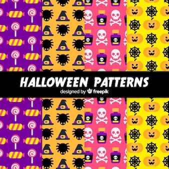 Coleção de padrão de elementos de halloween em design plano