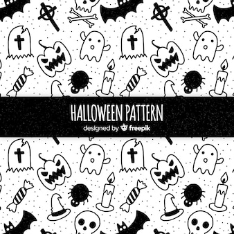 Coleção de padrão de elementos de halloween em preto e branco
