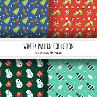 Coleção de padrão de elementos de inverno