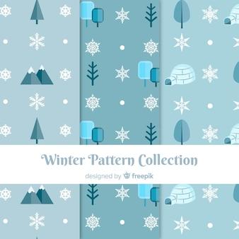 Coleção de padrão de elementos de natureza inverno
