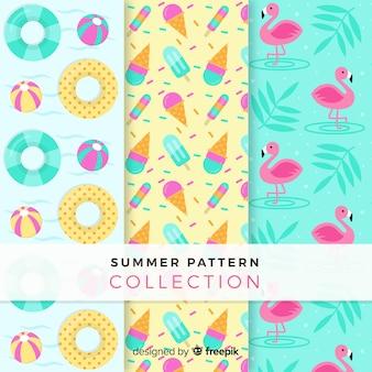 Coleção de padrão de elementos de verão plana