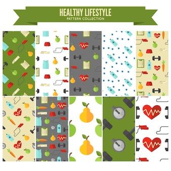 Coleção de padrão de estilo de vida saudável