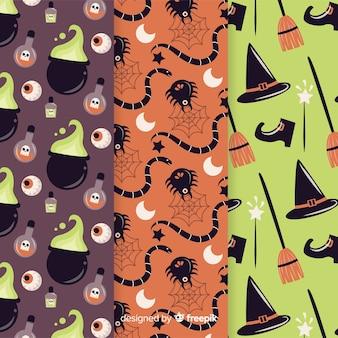 Coleção de padrão de festa de halloween com aranhas e bruxas