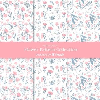 Coleção de padrão de flor em aquarela