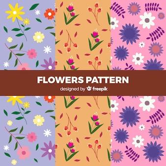 Coleção de padrão de flor plana
