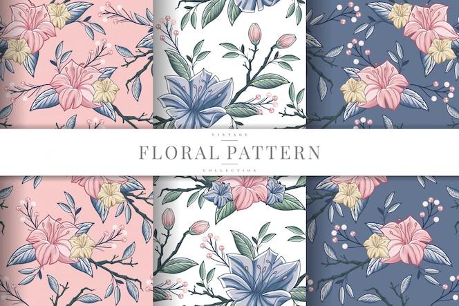 Coleção de padrão de flor vintage